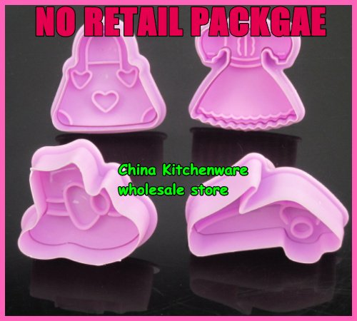 Wholesale-No retail package 4 pcs /set Lady shoes bags dress cookies cutter tools biscuit mold cake mold(China (Mainland))