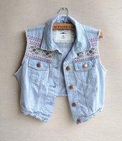 2014 New Special Design Embroidery Vintage Pattern Short Casual Denim Vest Jean Jacket,Fashion Women Spring Autumn Jeans Outwear