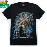 Luminous t-shirt neon short-sleeve 3dt male bass t shirt guitar skull