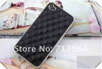 DHL Free Shipping! Hotsale!!! Luxurious Sheepskin Electroplated Phone Cover Chrome Case for iPhone 4 4S , with retail package