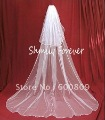 Free Shipping! 2T white / ivory wedding bridal veil with comb 120&quot; Cathedral length long veils