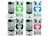 Wholesale 200pcs/lot New ArriveCute Panda Baby Silicone Soft Rubber Back Shell Cover Skin Case For iPhone 4 4S 4G