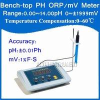 Free Shipping Bench-top Bench top pH ORP/mV  Meter Tester Accuracy:+-0.01pH; mV:1%FS Resolution:0.01pH,1mV Temp. Compensation