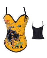 2012 New Arrival  ( Bustier+g-string)  High Qualtiy  Women shaper Sexy Lingerie Leather  Corset Black 9011