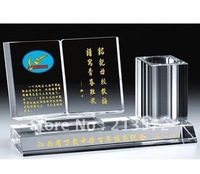 Hot sell crystal pen holder for office with customizable Picture furnishing articles