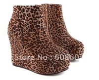 Free shipping high heel women's Leopard Ankle boot  wedges boots round toe suede shoes 5-7.5