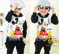 Toddlers' Autumn spring 2-piece set, hoodies + Pants,boys mickey clothing set balck color,kids autumn wear set