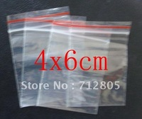Free Shipping 1000pcs/lot 4x6cm Small Mini Plastic Bags Clear Resealable PE Zip Lock Bags Thickness 0.04mm