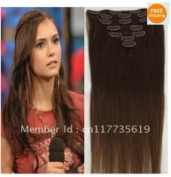 "#4 Medium Brown clip in on full head remy real 100% human hair extensions Straight 7 pcs 100g 16"" 18"" 20""22"" 24""26"" 28"""