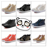 Hot Hot Sales! Fashion Super Star Bigbang Men/Women Shoes with Gold or Silver Rivets Fashion Cool Shoes +Free Shipping