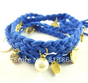 Treasure blue Women's Leather Braid Rope Multi Pendant Charm Bracelet Nice Gift(China (Mainland))