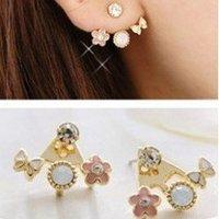 Min.order is $5 (mix order) Free Shipping Korean Flower Earrings Delicate Butterfly Earrings girls earrings (LS049)