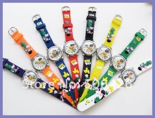 free shipping DHL 200pcs/lot Ben 10 Cartoon Children Watch Child/Kids/Girls/boys WristWatch 3D Watch Toy Xmas(China (Mainland))