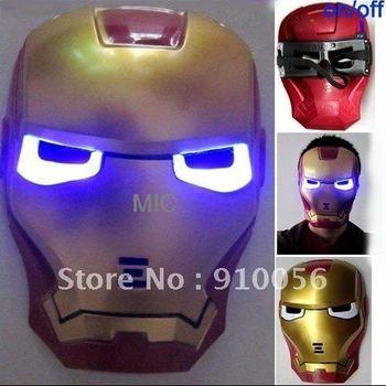 Free shipping 10 Pcs Lot Iron Man Mask LED Light Up Movie Guy Mask Hot Halloween Cosplay Toy Avengers