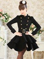 free shipping   pink doll wool long coat black Elegant Skirt style Puff Windbreaker long sleeve dress