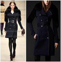RUNWAY Brand New luxury  trench coat with fox faux fur shoulders women wool long coat winter  outwear