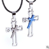 Kawaii fashion couple necklace cross pendant Valentine's Day gifts