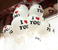 "12"" Opal Printing I LOVE YOU Latex Balloon, Party Decorations Latex Balloon, Free Shipping"
