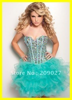 Free Shipping 2013 Sparking Sweetheart Beads Layered Organza Pleated Short Mini Prom Gowns Party Homecoming Dresses