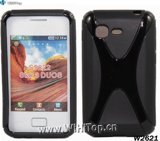 Belt Design TPU Case for Samsung Star 3 DUOS S5222. Gel TPU S Line Case for Samsung S5222.100pcs/lot(China (Mainland))