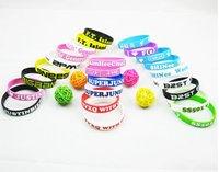 Free shipping,wholesale hot selling! silicone bracelet kpop silicone unisex 3D print bangle K-pop Bingbang/snsd/ beast/ 2pm etc.