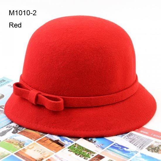 NEW 6pcs Womens Fedora Fashion Bowknot Women Red Bowler Cloches Ladies Black Derby Bucket Hats Lady Elegant Cloche Hats Fedoras(China (Mainland))