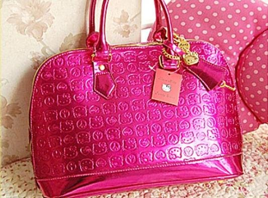 2014 NEW hello kitty brand tote bags Funky Divas cat rosy patent leather handbags, hellokitty fashion purse for woman GKJ032(China (Mainland))