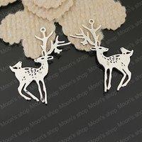 (25753)Free Shipping Wholesale Vintage Charms & Pendants Alloy Antique Silver 60*28MM Deer 6PCS
