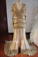 2013 Real Sample Zuhair Murad Couture Tulle V-Neck Full Sleeves Heavy Beading Gorgeous Handmade Long Prom Dress Evening Gown