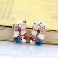 Wholesale Allergy Free 18K Gold Plated Colorful Crystal Lucky Engagement Clover Earring Free Shipping 35% Off for 6Pcs Mix Order