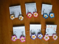 flower drop Earrings with display card #120808-24, 6 different colors, wholesale lot, new assorted, fashion costume