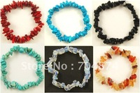 Free shipping  wholesale Crystal Chip Beaded Stretch BRACELETS  Mix 6 color in stock
