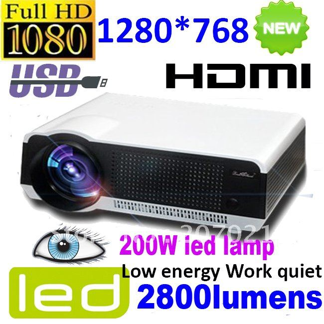 Free shipping good 2800lumens native 1280*800 cheap HD led projector/proyector/projektor/beamer 200W led lamp support 1920*1080(China (Mainland))