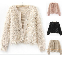 free shipping!2012 new arrival Vintage plush knitted cardigan autumn women's loose paillette short design knitting sweater