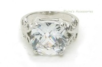 MIN.ORDER $15,fashion platinum plated ring with big A class crystal inset