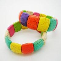 New Arrival Rainbow Color Nature Turquiose Bracelet Fashion Jewelry Elastic Bracelet 12pcs/lot Free Ship