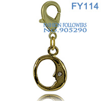 Free Shipping Fashion Alloy Moon Charms For Bracelets & Necklace Best Gift Lucky Floating Charms With Lobster Clasp FY0114