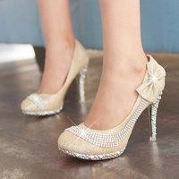 Free Shipping Women Bowtie High Heels Fashion Rhinestone Heels Luxury Wedding Shoes Sexy Party Pumps Glitter Stilettos 3361-9