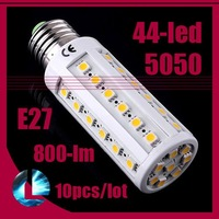 Free Shipping 10pcs/lot, 800LM 10W E27 44-LED 5050-SMD Corn Bulb Energy Saving Spot Lamp warm white/ cool white Light 220V 110V
