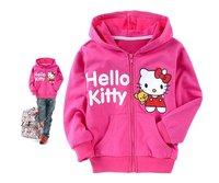 Free shipping Lovely hello kitty children's coat girl's cotton hoody&sweater