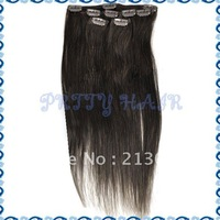 Wholesale 20inch 3sets/Lot, Clip in Straight Brazilian Remy Human Hair Extensions, Color#2,7185