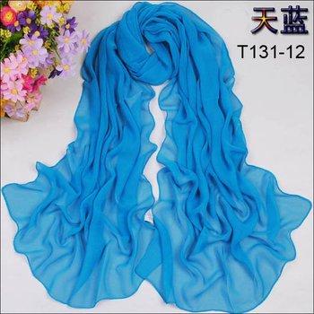 SPECIAL CHEAP 12pcs Mix Solid Color Chiffon Scarves Fashion Womens Plain Scarfs Women Pretty Wraps Lovely Shawls Lady Blue Scarf