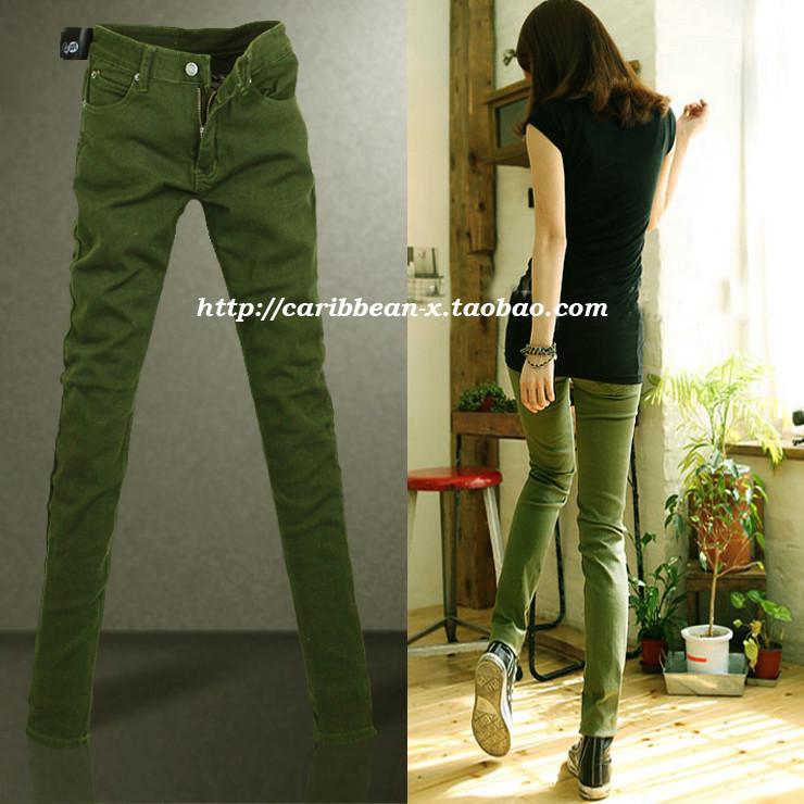 Sonbahar yeni varış uzun pantolon bayan askeri yeşilince kot moda
