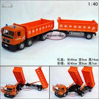 Man 12 wheel double dump truck gift box alloy car model