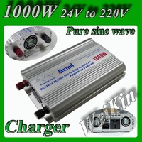 Pure Sine Wave Power Inverter 1000W Peak 2000W  DC 24V to AC 220V power converter with battery charger function