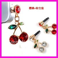 Wholesales Earphone Jack Plug Stopper For Iphone / HTC / Samsung ,Fashion Cherry Phone Chain ,Dustproof Plug Free Shipping !