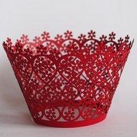 "NEW DESIGN!!HOT SALE!!""flowering heart""Customized art cupcake wrapper"