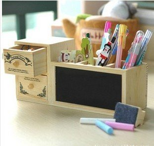 Free Shipping 1piece/lot DIY wooden Desk Multi-Function Pen Container,Pen Cases brush pot with Small Blackboard and two Drawers(China (Mainland))