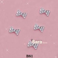Free Shipping-Wholesale, 100pcs/bag, 8mm-10mm BOW Shape 3d metal nail art decorations with shining rhinestones B81