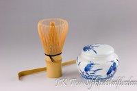 Handmade Matcha 100Tongs Whisk +Matcha Scoop+50g Crane Tea Caddy Set